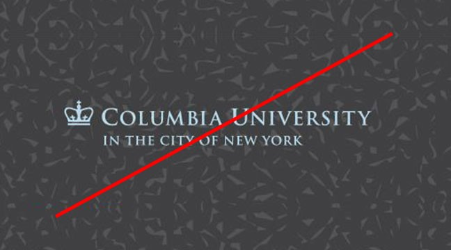 Columbia University trademark on busy background