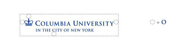 "Columbia University trademark with the letter ""O"" width around it on all sides"