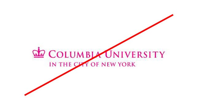 Columbia University trademark in pink font