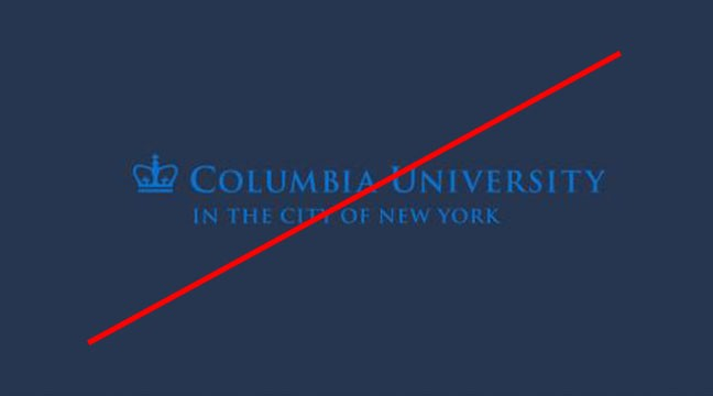 Columbia university trademark with blue font on blue background